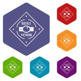 Buckle chrome icons vector hexahedron. Buckle chrome icons vector colorful hexahedron set collection isolated on white royalty free illustration