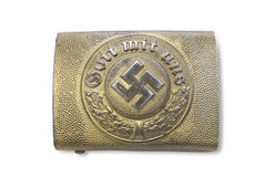 Buckle of German Navy police (rank and file). Germany at the Second World War. Buckle of German Navy police (rank and file). Steel with bronzing. Inscription stock photo