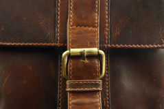Buckle on leather briefcase Stock Photo