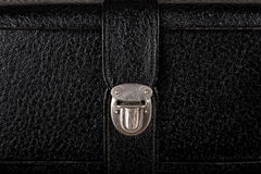 Buckle of old black leather suitcase Royalty Free Stock Image