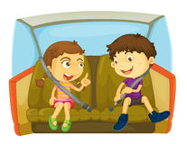 Buckle up. Illustration of boy and girl fastening seatbels in a car Royalty Free Stock Photo