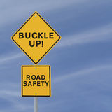 Buckle Up!. Road safety reminder against a blue sky background with copy space Stock Photos
