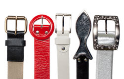 Buckles belt over white background Royalty Free Stock Photos
