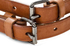 Buckles. Two brown leathers belts isolated on a white background Stock Images