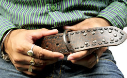 Buckling the belt Stock Photo
