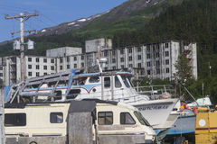 Buckner-Gebäude in Whittier, Alaska Lizenzfreie Stockfotografie