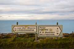 Buckshot highway signs in The Burren Royalty Free Stock Photo