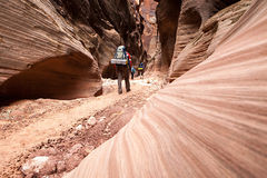 Buckskin Gulch Canyon Hikers Royalty Free Stock Photo
