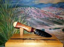 Buckskin. Obsidian knife. Rosewood handle, Fine art, acoma artists, flintknapping, acoma Stock Photography