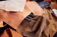 Buckskin suede leather messy mixed  materials Stock Photography