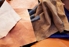 Buckskin suede leather messy mixed  materials Royalty Free Stock Photography