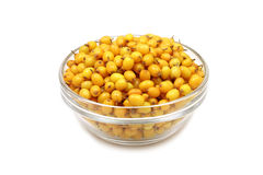 Buckthorn berries in a glass bowl Stock Images