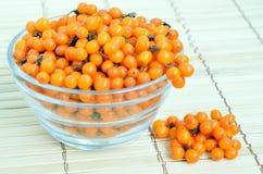 Buckthorn jagody w szklanym pucharze Zdjęcia Royalty Free
