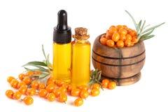Buckthorn olej z jagodami i liśćmi odizolowywającymi na białym tle Zdjęcie Stock