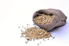 Buckwheat in the bag Stock Photo