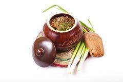 Buckwheat baked in a pot Royalty Free Stock Photos