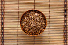 Buckwheat in a bowl royalty free stock photo