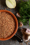 Buckwheat in a bowl with Stock Image