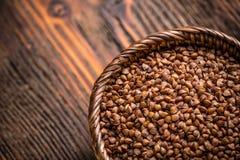 Buckwheat in bowl Stock Photo