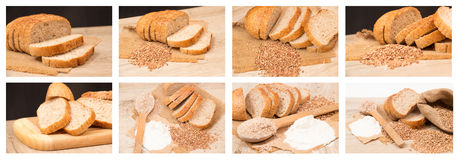 Buckwheat bread collage Royalty Free Stock Photography