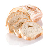 Buckwheat bread slices closeup on white background. Stock Images