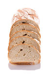 Buckwheat bread slices closeup on white background. Royalty Free Stock Photography