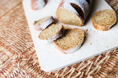Buckwheat bread on the wooden Board Stock Photo