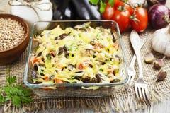 Buckwheat casserole with eggplant Stock Photos