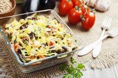 Buckwheat casserole with eggplant Royalty Free Stock Photography