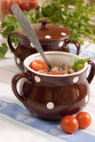 Buckwheat cereal in pots Stock Image