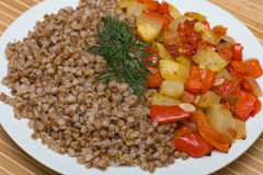 Buckwheat cereal with vegetables Stock Photography