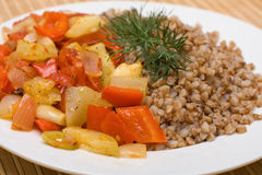 Buckwheat Cereal With Vegetables Stock Images