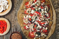 Buckwheat Chia seed pizza crust with mushrooms, tomato, Basil an Royalty Free Stock Photography