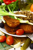 Buckwheat and chicken cutlet Stock Image