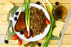 Buckwheat and chicken cutlet Royalty Free Stock Images