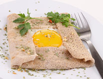 Buckwheat crepe with egg Stock Images
