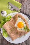 Buckwheat crepe with egg Stock Photo