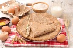 Buckwheat crepe. With ingredients,studio shot royalty free stock photos