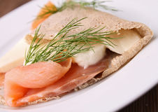 Buckwheat crepe with salmon Stock Photos