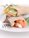 Buckwheat crepe with salmon and cheese Stock Photo
