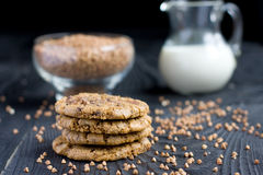 Buckwheat flour cookies with chocolate Stock Photography
