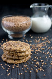 Buckwheat flour cookies with chocolate Stock Photo