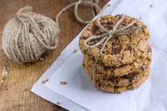 Buckwheat flour cookies with chocolate crisp Royalty Free Stock Photography