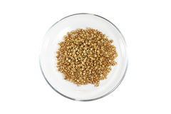 Buckwheat in a glass bowl Stock Image