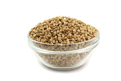 Buckwheat in a glass container Stock Photos