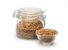 Buckwheat in a glass jar Royalty Free Stock Photo