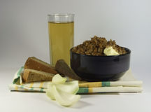 Buckwheat, and a glass of kvass. Stock Photography