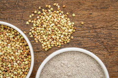 Buckwheat grain and flour Stock Image