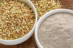 Buckwheat grain and flour Royalty Free Stock Photos