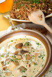 Buckwheat groats and cream soup Stock Image